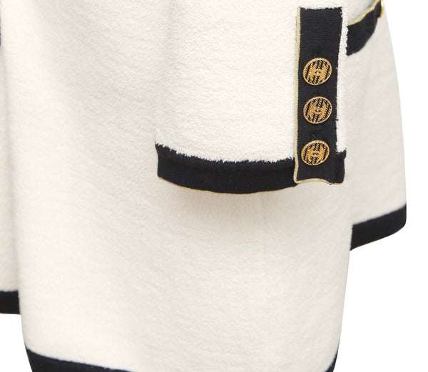 CHANEL Dress Knit Sweater Ivory Cotton Blend Long Sleeve Black Gold Sz 40 - Evesherfashion