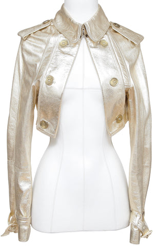 BURBERRY LONDON Cropped Gold Leather Jacket Coat Trench Open Front US 10 - Evesherfashion