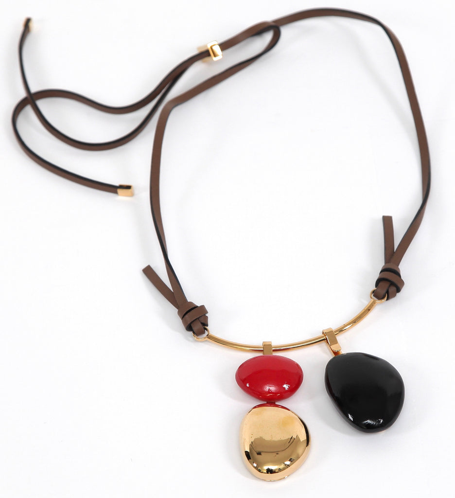 MARNI Necklace Collar Brown Leather Gold Tone HW Red Black Wood - Evesherfashion