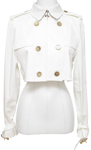 BURBERRY LONDON Cropped Jacket Coat Double Breasted Trench Ivory Open Front 10 - Evesherfashion