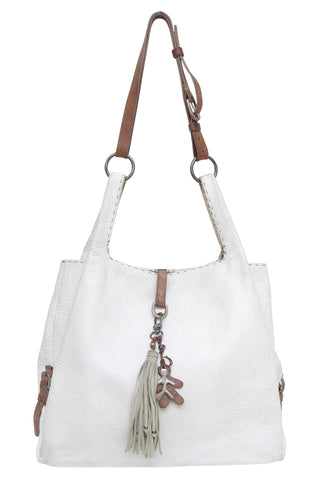 HENRY BEGUELIN Leather Shoulder Bag Hobo White Pebbled Gunmetal Flap - Evesherfashion