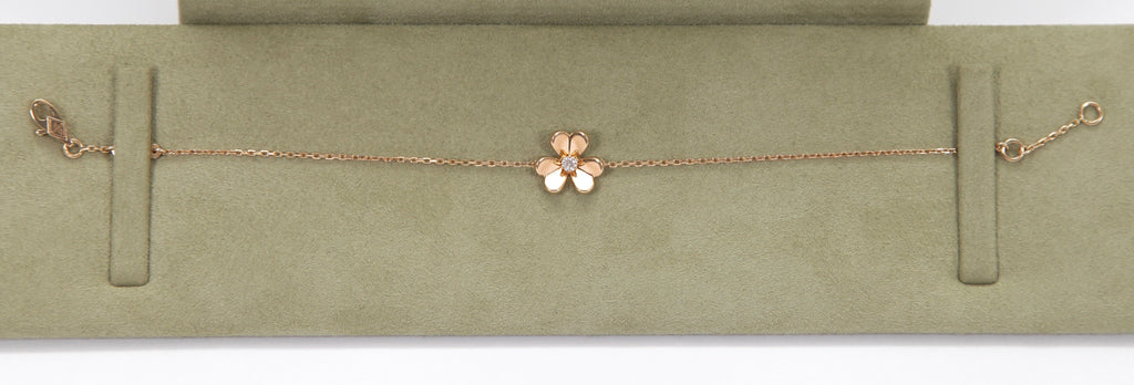 VAN CLEEF & ARPELS Bracelet FRIVOLE MINI Yellow Gold Diamond Flower - Evesherfashion