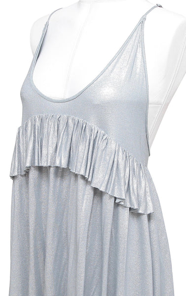 STELLA MCCARTNEY Mini Dress Tunic Top Metallic Silver Blue Spaghetti Strap 42 NW - Evesherfashion