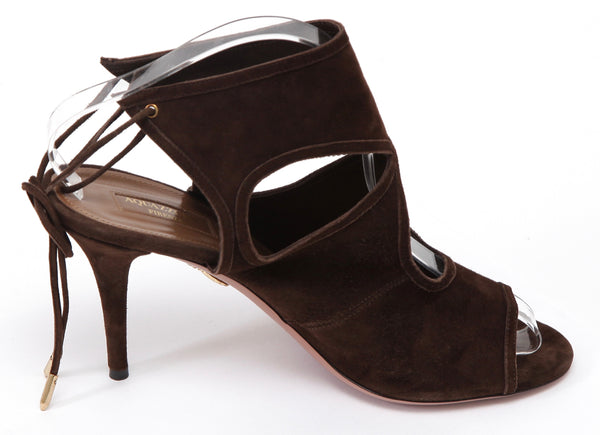 AQUAZZURA Brown Suede Sandal Leather SEXY THING Ankle Wrap Cutout Heel Sz 41 - Evesherfashion