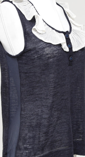 CHLOE Sleeveless Top Shirt Sleeveless Navy Ivory Ruffle Henley XS 2007 - Evesherfashion