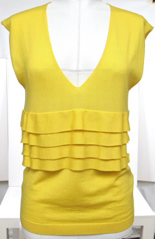 RED VALENTINO Knit Sweater Top Sleeveless Yellow Ruffle Wool - Evesherfashion
