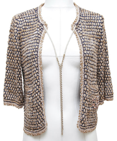 CHANEL Cardigan Sweater Knit Navy Beige Gold 3/4 Sleeve Gold Chain 2011 Sz 34 - Evesherfashion
