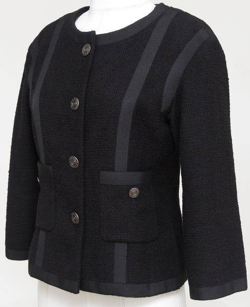 GUARANTEED AUTHENTIC CHANEL BLACK TWEED 3/4 SLEEVE JACKET Sz 38 Spring 2013 - Evesherfashion