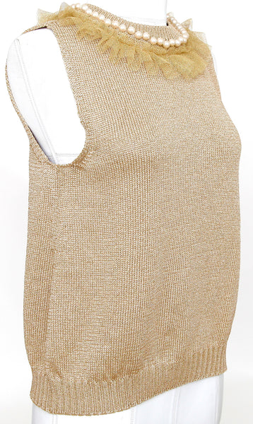 MOSCHINO Sleeveless Sweater Knit Metallic Gold Faux Pearls Netting US 10, I 44 - Evesherfashion