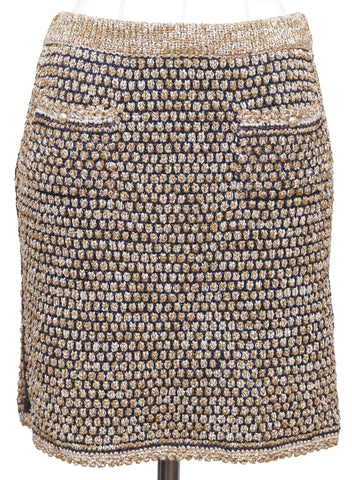 CHANEL Skirt Sweater Knit Navy Beige Gold-Tone Buttons Pockets 2011 Sz 36 - Evesherfashion