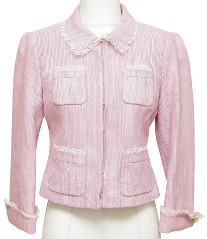 BLUMARINE Jacket Blazer Long Sleeve Pink White Lace Pockets Hook & Eye I 44 - Evesherfashion