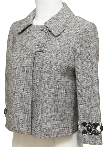 REBECCA TAYLOR Tweed Jacket Blazer 3/4 Sleeve Buttons Collar Applique Sz 4 - Evesherfashion