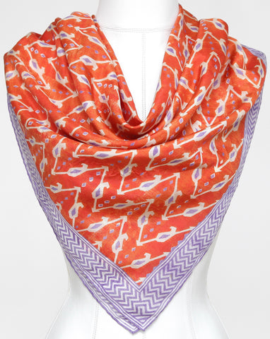 RALPH LAUREN COLLECTION Purple Label Scarf Silk Square Orange Purple Ivory - Evesherfashion