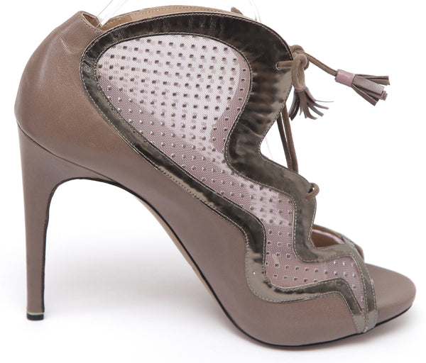 NICHOLAS KIRKWOOD Ankle Boot Bootie Leather Taupe Pewter Lace Up Peep Toe Sz 40 - Evesherfashion