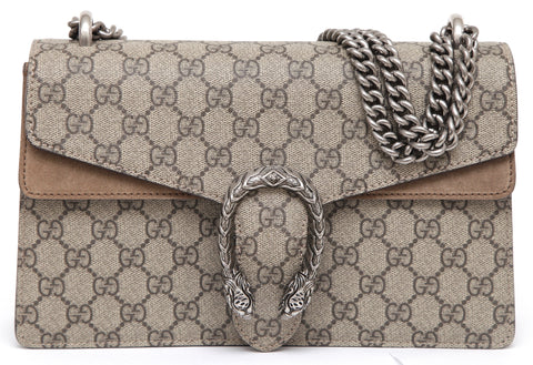 GUCCI Monogram GG Supreme SMALL DIONYSUS Shoulder Bag Taupe Silver HW NEW - Evesherfashion