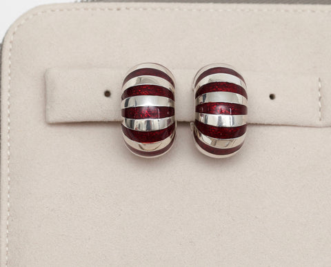 TIFFANY & CO. Sterling Silver Clip-on STRIPED ENAMEL Red Clip-on Earrings - Evesherfashion