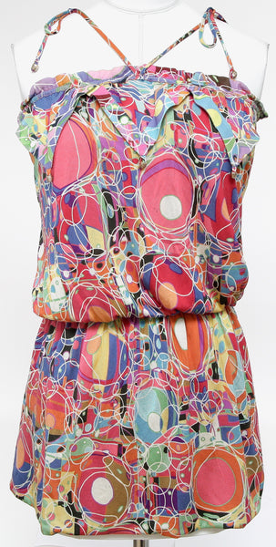 CHANEL Blouse Tunic Sleeveless Tie Pink Print Yellow Sz 36 Spring 2008 - Evesherfashion