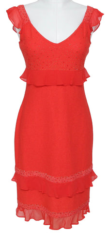 ST. JOHN Sleeveless Knit Dress Red Coral Sequin Ruffle Cocktail Sz 2 BNWT $1,295 - Evesherfashion