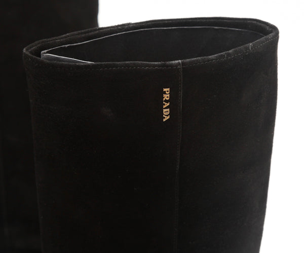 PRADA SPORT Boot Black Suede Leather Knee High Zipper Square Toe Bootie Sz 37.5 - Evesherfashion