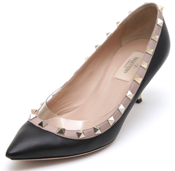 VALENTINO Black Leather Pump GOLD ROCKSTUD Beige Kitten Heel Sz 37.5 - Evesherfashion