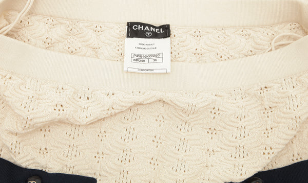 CHANEL Skirt Knit Sweater 2pc Ivory Ecru Navy Sz 34 36 Crusie 2013 - Evesherfashion