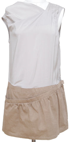 BRUNELLO CUCINELLI Dress Above Knee Grey Beige Sleeveless Silk Cotton US L - Evesherfashion
