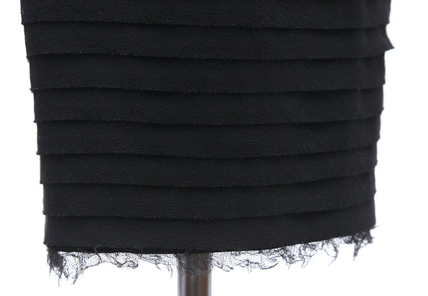 CHANEL Black Dress Cap Sleeve Cocktail Evening Tiered Bow Sheath Wool Sz 38 - Evesherfashion
