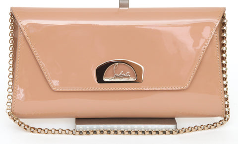 CHRISTIAN LOUBOUTIN Patent Leather Bag VERO DODAT Clutch Shoulder Strap Gold HW - Evesherfashion