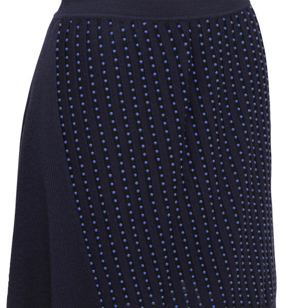 ROBERTO CAVALLI Sweater Knit Skirt Beaded Blue Navy Sz 44 - Evesherfashion