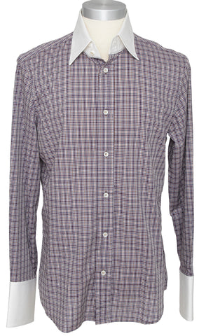 DSQUARED2 Men's Long Sleeve Button Up Shirt Blue Brown Plaid Sz 52 - Evesherfashion