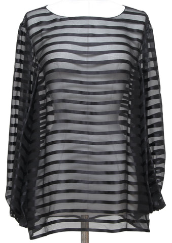 CHANEL Black Silk Blouse Shirt Top Long Sleeve Striped Bateau CC 2013 Sz 38 - Evesherfashion