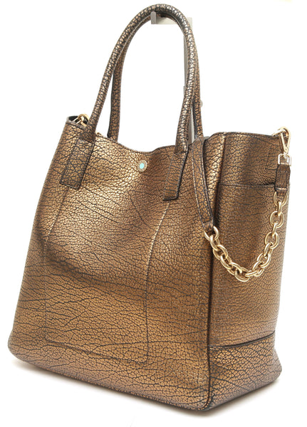 TIFFANY & CO. Leather Tote Bag RILEY Pebbled Bronze Large Shoulder Strap - Evesherfashion
