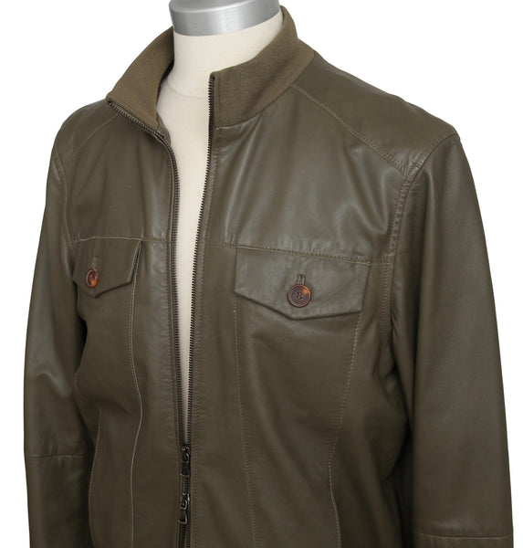 LOT78 Men's Leather Jacket Olive Green Coat Long Sleeve Zipper 54 - Evesherfashion