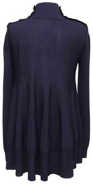 ALEXANDER McQUEEN Sweater Knit Tunic Navy Wool Long Sleeve Mock Neck Sz M - Evesherfashion
