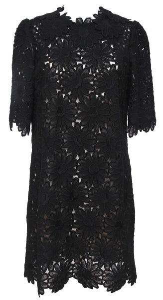 DOLCE & GABBANA Black Lace Dress 3/4 Sleeve Shift Zipper Sz 44 - Evesherfashion