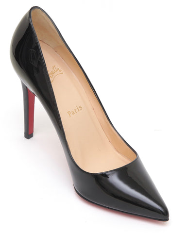 CHRISTIAN LOUBOUTIN Black Patent Leather Pump PIGALLE 100 Pointed Toe 38 - Evesherfashion