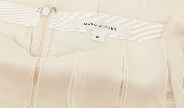 MARC JACOBS Dress Sleeveless Boat Neck Ivory Cocktail Evening Sz 10 - Evesherfashion