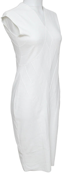 FENDI Dress White Viscose Knit Sleeveless Slip-On V-Neck Sz 42 BNWT - Evesherfashion