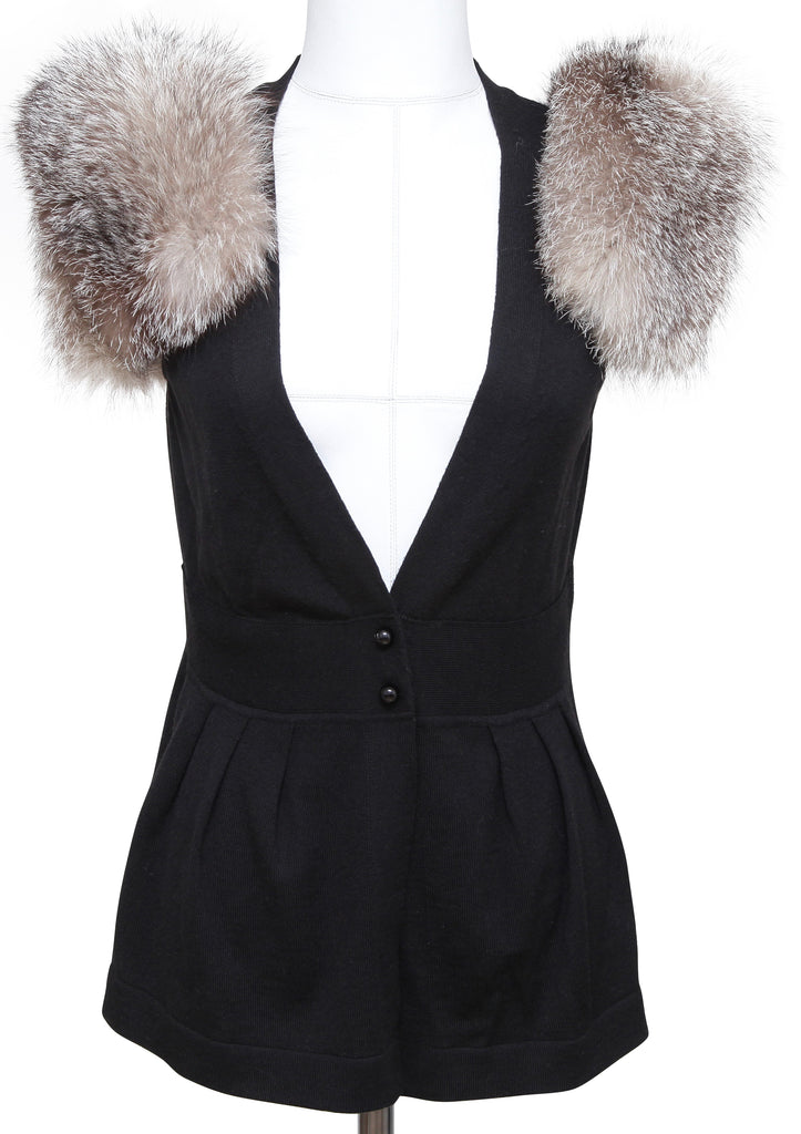 FENDI Black Cardigan Sweater Knit Sleeveless Wool Fur Sz 42 - Evesherfashion