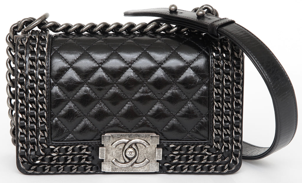 CHANEL Black Lambskin Leather Small BOY CHAINED Bag Quilted Antiqued Silver HW - Evesherfashion
