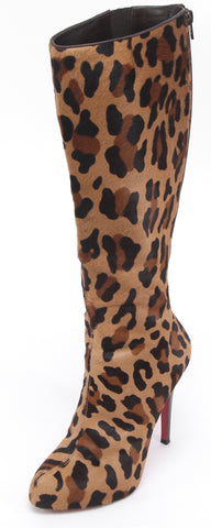 CHRISTIAN LOUBOUTIN Boot Platform Leopard ALTA ARIELLA Knee High Pony 38.5 - Evesherfashion