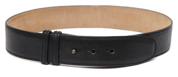 ALAIA Black Leather Belt Waist Peg In Hole Closure Sz 70 VINTAGE - Evesherfashion