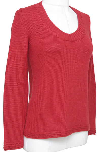 CHLOE Sweater Knit Top Shirt Long Sleeve Red Alpaca Scoop Neck Sz XS - Evesherfashion