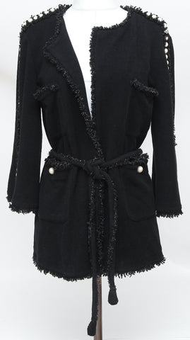 CHANEL Black Jacket Cardigan Sweater Pearls Belt Fringe Tweed 2014 Sz 38 - Evesherfashion