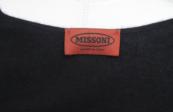 MISSONI Sweater Knit Cashmere Silk Black Pullover Faux Wraparound Tie Sz 38 - Evesherfashion