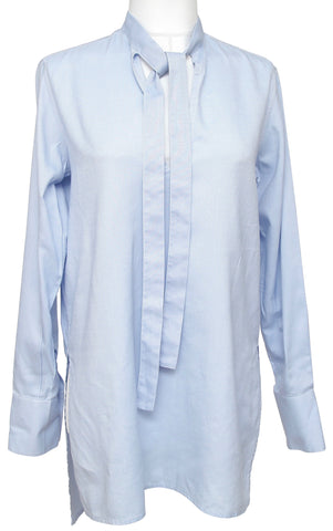 VALENTINO Tunic Blouse Shirt Top Blue Cotton Long Sleeve Slip-On Tie Sz 40 - Evesherfashion