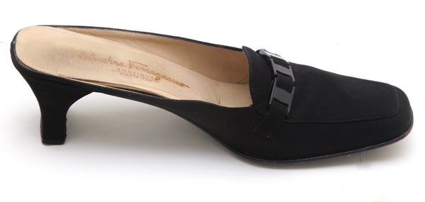 SAVATORE FERRAGAMO Black Mule Slide Pump Fabric Leather Chain Sz 10 B - Evesherfashion