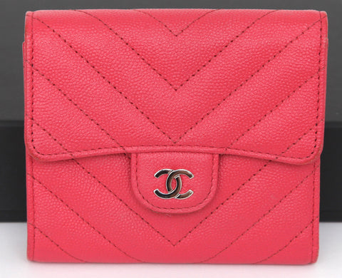 CHANEL Red Chevron Caviar Leather Wallet Flap Silver Tone HW 2019 - Evesherfashion