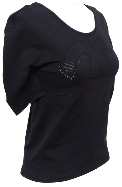 CHANEL Black Top Knit Short Sleeve Scoop Neck T-Shirt Sz L (runs small) BNWT - Evesherfashion