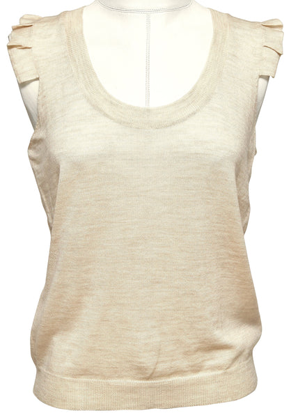 CHLOE Sleeveless Knit Sweater Top Beige Wool Sz S 2005 - Evesherfashion